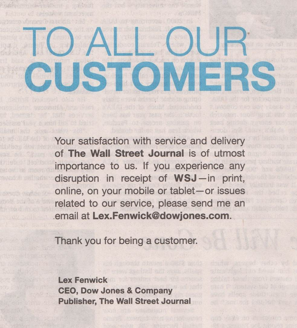 Save The Ceo Newspaper Letter For The Big Stuff