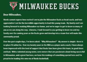 Jason Kidd Letter to Bucks Fans. Posted 7/7/2014 to Milwaukee Bucks website.