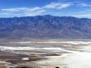 Looking from Dante's View across the Badwater Basin salt pan to Telescope Peak, 11,049 feet, at the top of the Panamint Mountains. Photo Credit: National Park Service.