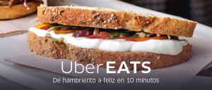 UberEATS - Barcelona, Spain. Translation: From hungry to happy in 10 minutes. Photo Credit: Uber.